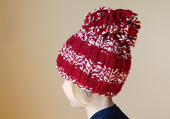 Crimson and White Knit Hat with Pompom