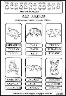 Caça palavras com nome de animais
