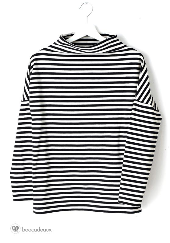 Shirt mit Stehkragen - Stoff und Stil Schnittmuster 23125 aus Streifenjersey