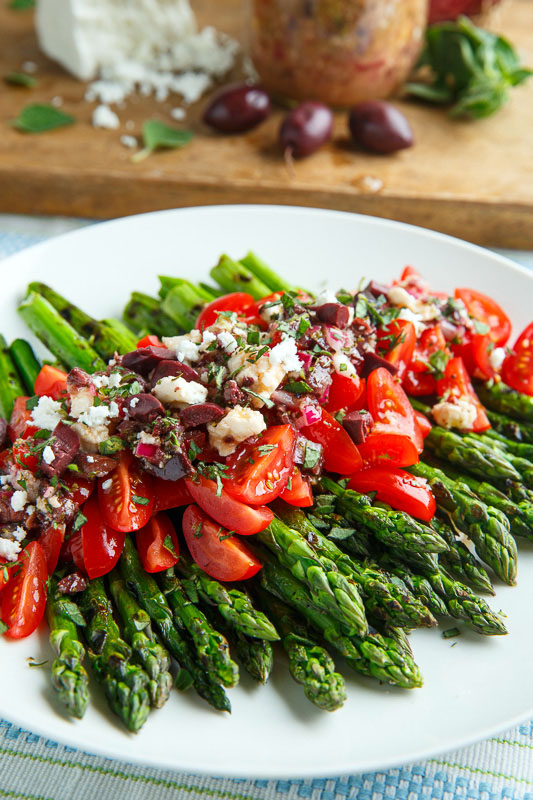 Grilled Asparagus and Tomatoes in a Kalamata Olive and Feta Vinaigrette Recipe