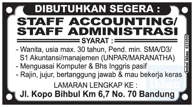 Lowongan Kerja Staff Accounting & administrasi Bandung Mei