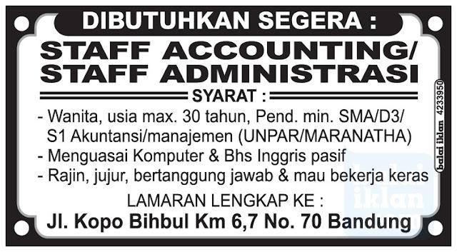 Lowongan Kerja Staff Accounting & administrasi Bandung Mei 2016