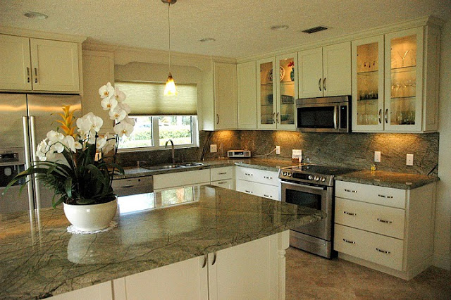 green kitchen with marble granite countertops ideas