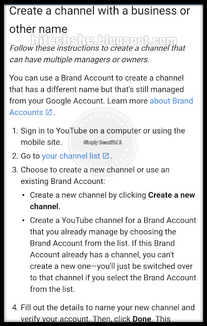 Create a channel with a business or other name.