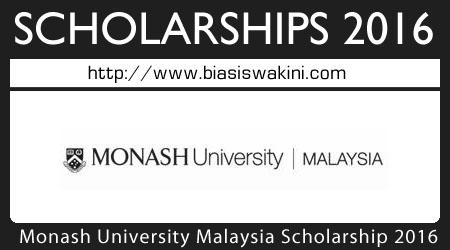 Monash University Malaysia Scholarship 2016