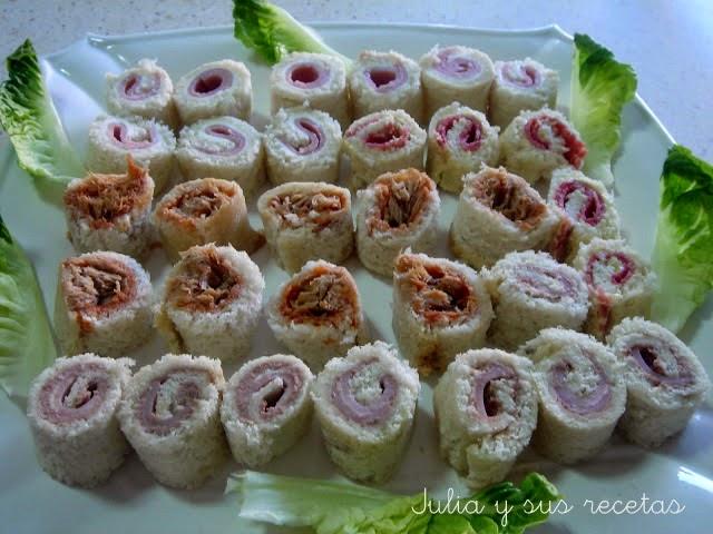 Rollitos de pan bimbo rellenos. Julia y sus recetas
