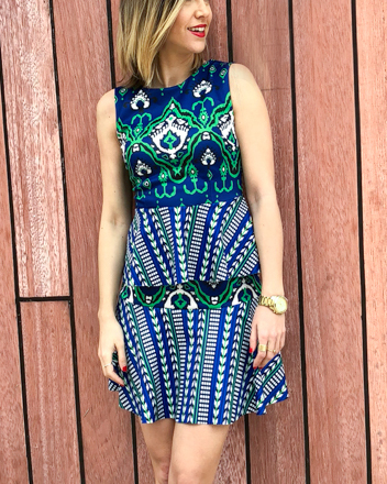 Fitness And Chicness-Vestido estamapado azul y verde-Vestido y Tacon-7