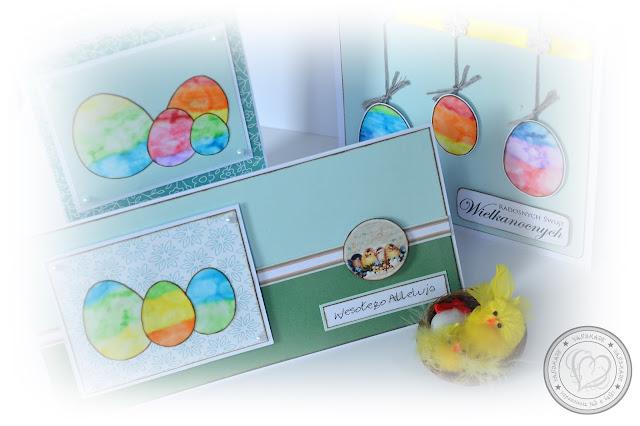 Kartki wielkanocne z tęczowymi jajeczkami