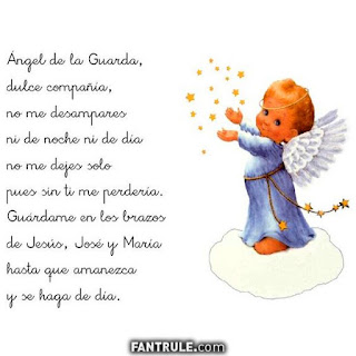 Imágenes de Ángeles con frases oración angel de la guarda niño