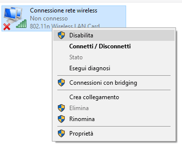 disabilita connessione rete