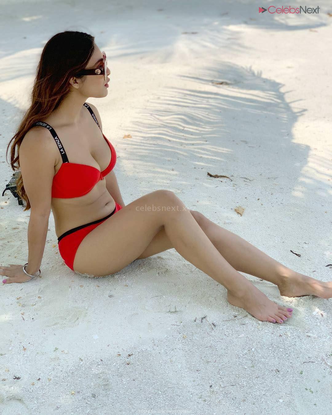 Neha Malik Sizzling Pics in Red Bikini Red and Black Bikini Bollywood Actress Model in Bikini