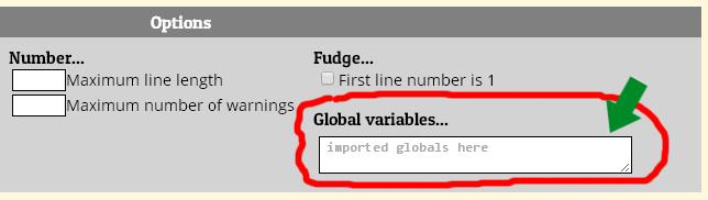 global variables option on JSLint