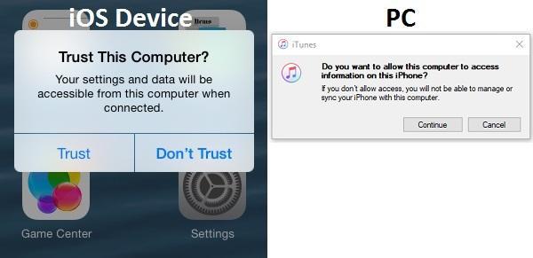 iOS prior to version 11 allow trusting a PC without knowing the passcode or PIN