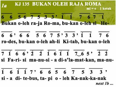 Lirik dan Not Kidung Jemaat 135 Bukan Oleh Raja Roma
