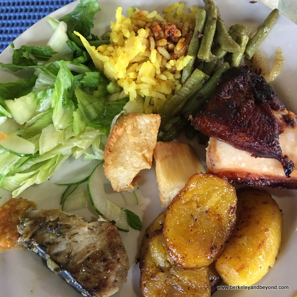 buffet lunch at Blue Crab Restaurant in Scarborough, Tobago