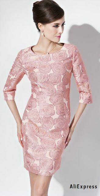Vestido en tela jacquard rosado