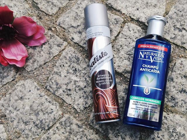 Produtos terminados; Champô seco Batiste cabelos escuros; Natureza y vida champô, shampoo antiqueda;