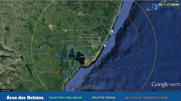 Mapa divulgado pelo Observatório nesta quarta-feira (Foto: Divulgação/ Observatório Nacional)