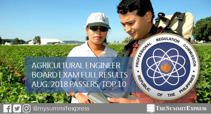 FULL RESULTS: August 2018 Agricultural Engineer board exam passers list, top 10