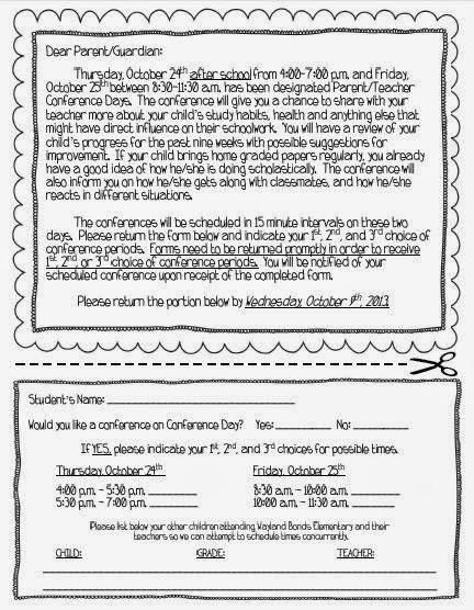 parent conference form template