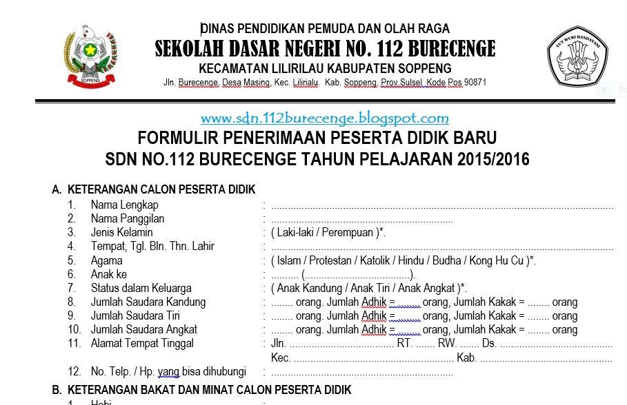 Sdn 112 Burecenge Download Format Formulir Pendaftaran Siswa Baru