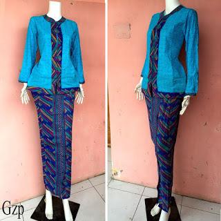 Baju Batik Kombinasi Kain Polos