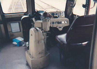 California Western M-300 Control Stand at Willits, California, on March 18, 1992