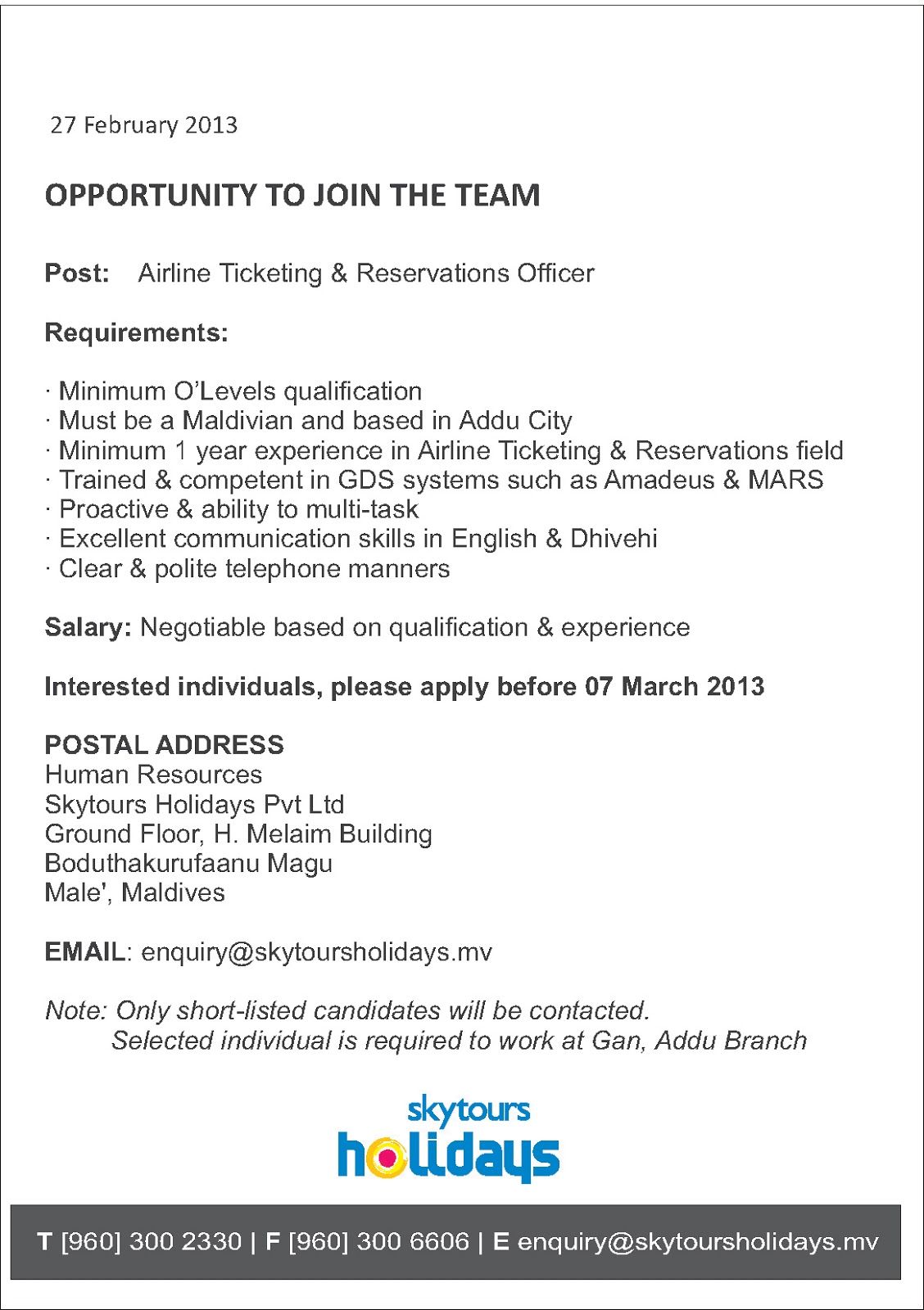 job maldives assistant reservation manager jobs in maldives