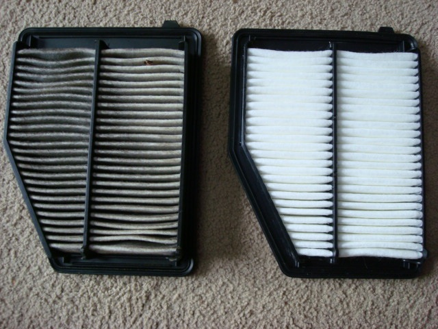 dirty and clean air filter