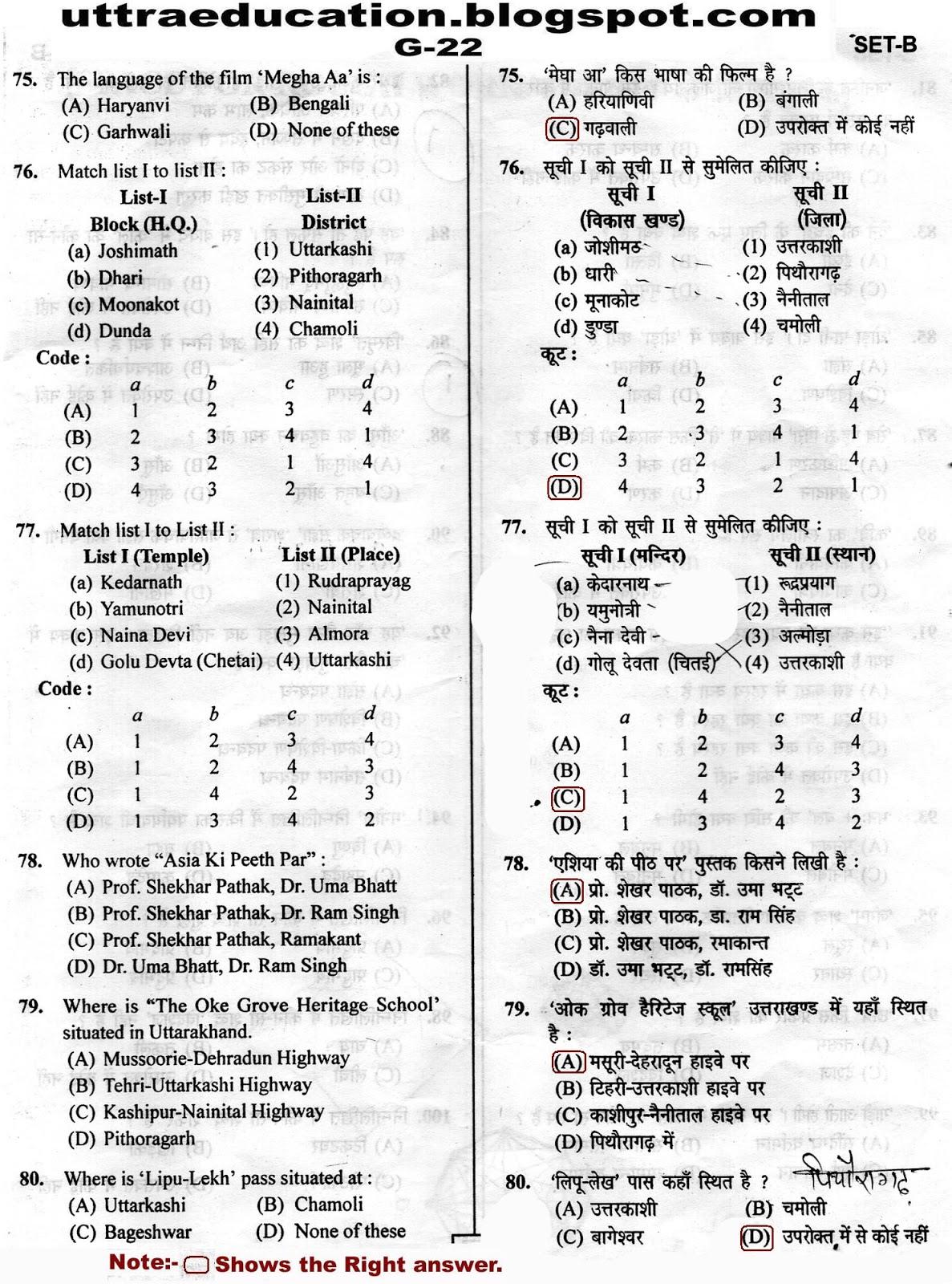 Uttaraeducation: G-22 ANSWER KEY & QUESTION PAPER OF SAMUH