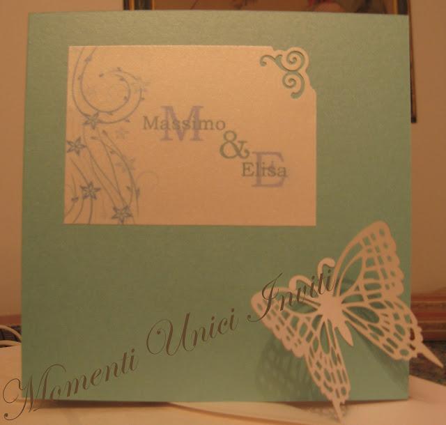 tif+but1 Partecipazione card in cartoncino perlescente con farfalla intagliataColore Tiffany
