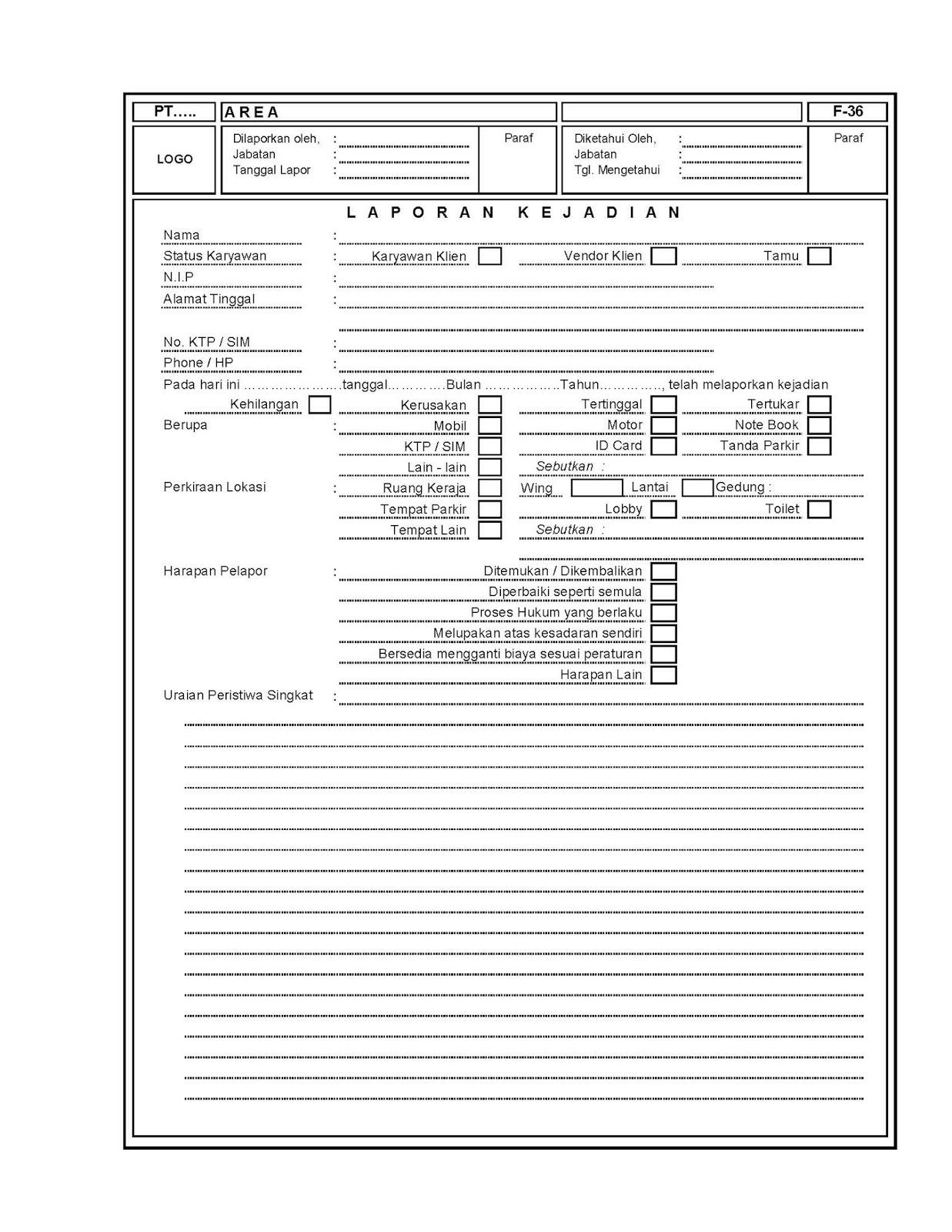 MAGHRIBI : Form-Form Pengendalian: FORM LAPORAN KEJADIAN ...