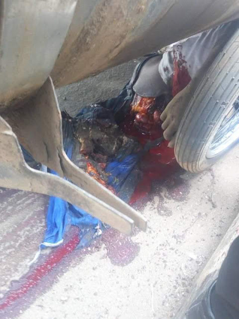 Graphic: Fuel tanker crushes commercial motorcyclist to death in Ondo few weeks after his wedding