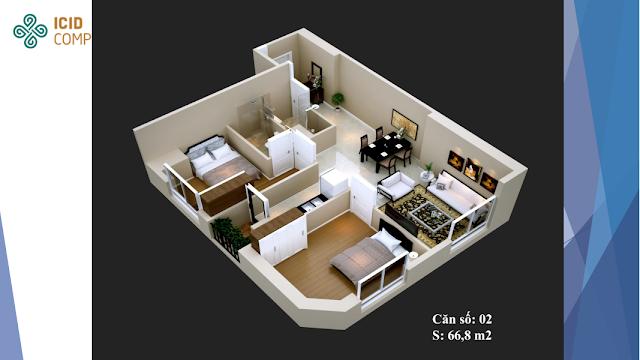 Thiết kế căn hộ 02 chung cư ICID COMPLEX