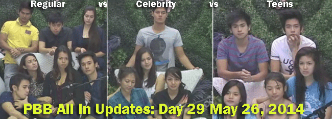 PBB All In Updates Day 29 May 26, 2014 Celebrity vs Teens vs Regular Housemates
