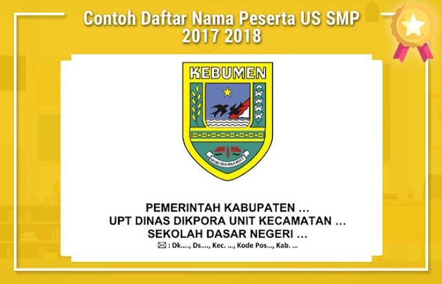 Contoh Daftar Nama Peserta US SMP 2017 2018