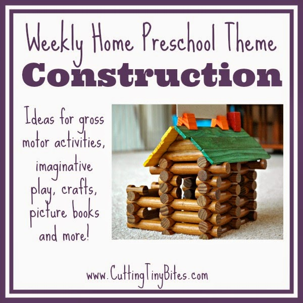 Activities for one week of EASY home preschool with for a construction theme unit. Picture books, crafts, gross motor, snack, and more!