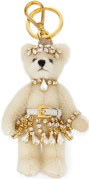 Prada Renne Plush Teddy Bear Charm, White/Pink (Bianco)