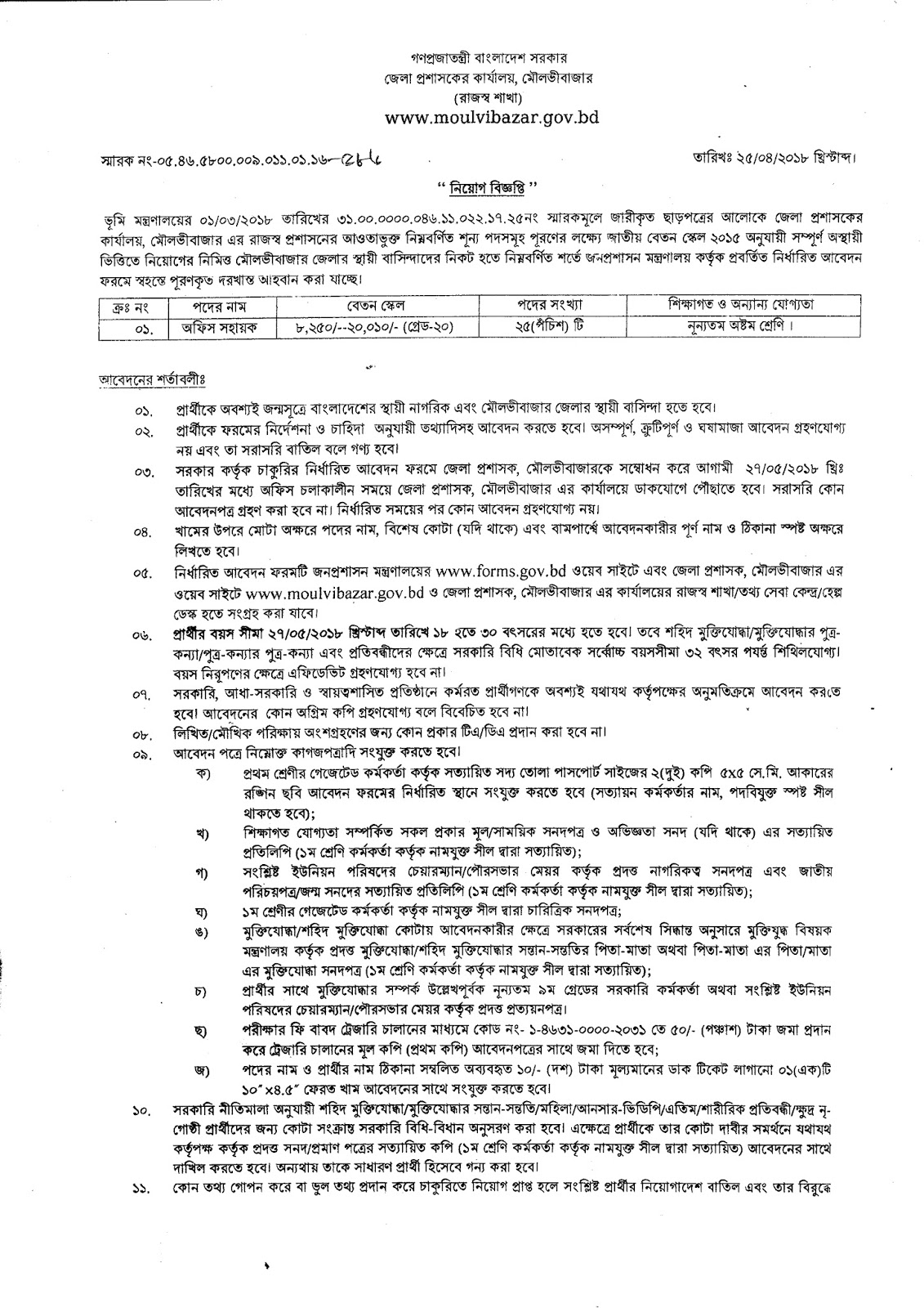 Moulvibazar district Job Circular 2018