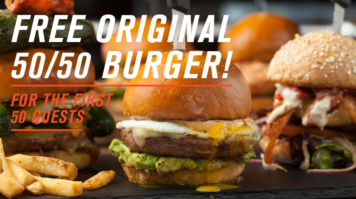 Sept. 1 | Slater's 50/50 Celebrates Huntington Beach Grand Opening with Free Burgers