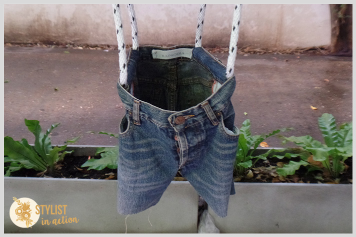 hamaca para bebe reciclando un jean viejo