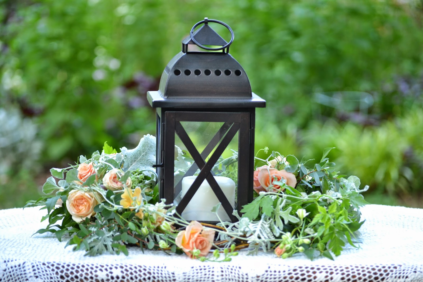 Wedding Flowers from Springwell: Lantern Centerpiece for