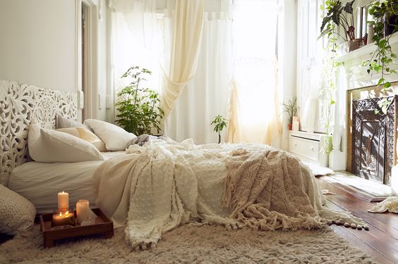 cozy white warm bohemian bedrooms