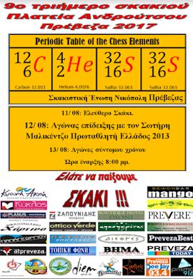 Πρέβεζα: Για 9η συνεχή χρονιά η Σκακιστική Ένωση ΝΙΚΟΠΟΛΗ Πρέβεζας πραγματοποιεί τις καλοκαιρινές σκακιστικές εκδηλώσεις το τριήμερο 11-13 Αυγούστου