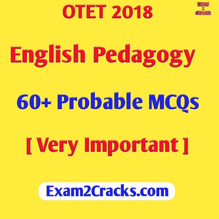 OTET 2018 English Pedagogy 60+ Probable MCQs - Exam2Cracks