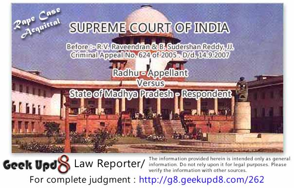 Supreme Court Acquits two from the False Rape charges and also warns lower courts to beware of False Rape cases