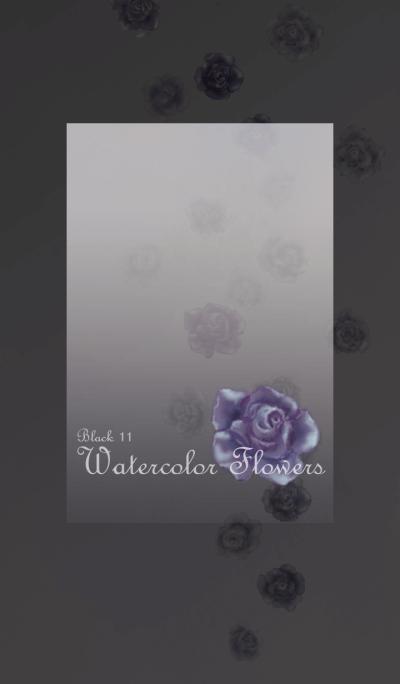 Watercolor Flowers[Rose]/Black 11