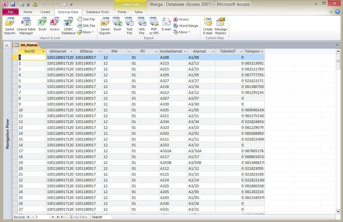 mengelola database mysql dengan ms access