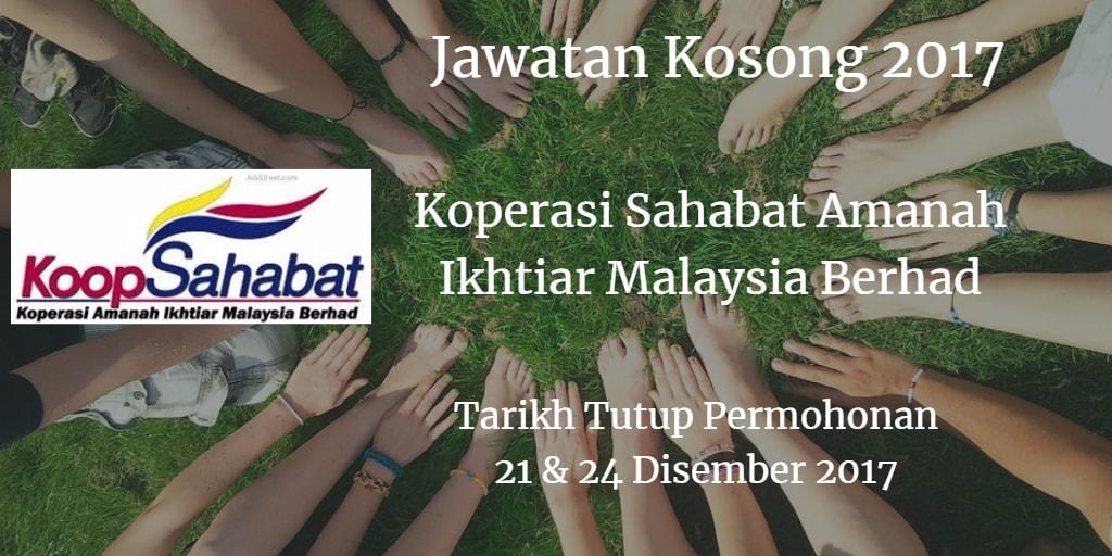 Jawatan Kosong Koperasi Sahabat Amanah Ikhtiar Malaysia Berhad 21 & 24 Disember 2017