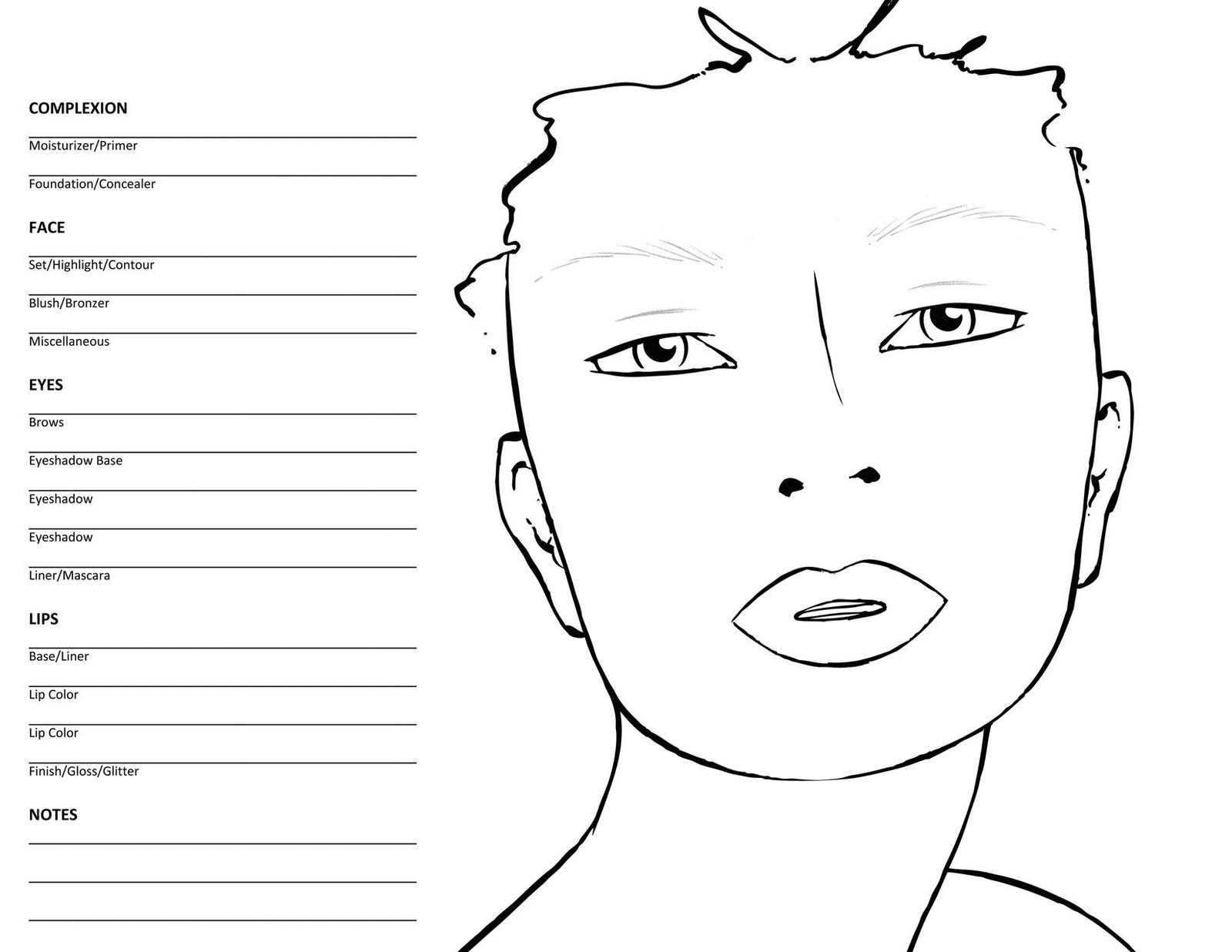Eumemaquio com face charts for Blank face coloring page